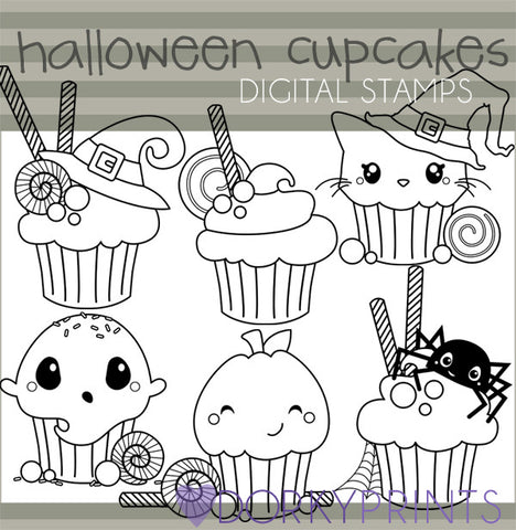 Cupcakes Black Line Halloween Clipart