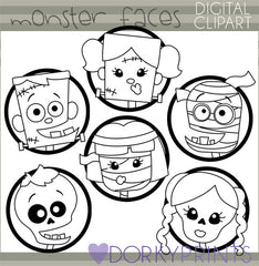 Classic Monster Faces Black Line Halloween Clipart