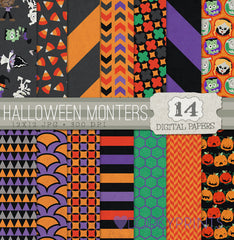 Halloween Monsters Digital Paper Pack
