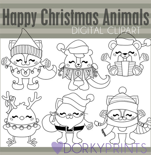 Chubby Animals Black Line Christmas Clipart