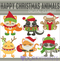 Chubby Animals Christmas Clipart