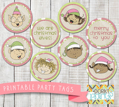 Happy Christmas Elf Circle Tags Holiday Printables