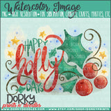 Happy Holly Days Watercolor PNG