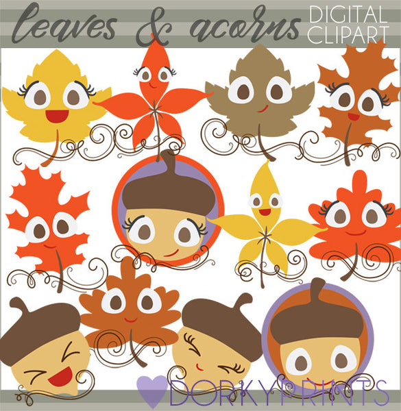 Leaves and Acorns Thanksgiving Clipart