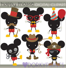 Happy Boy Mouse Character Clipart