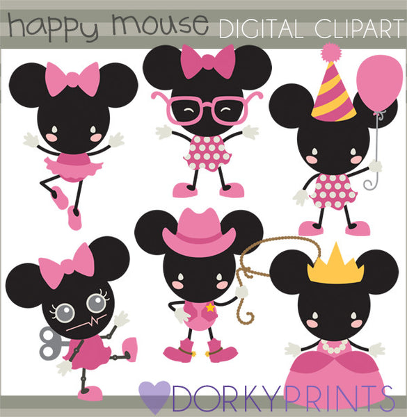 Happy Girl Mouse Character Clipart