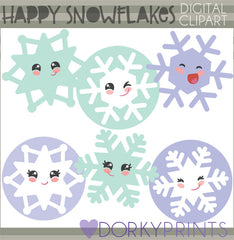 Happy Snowflakes Christmas Clipart