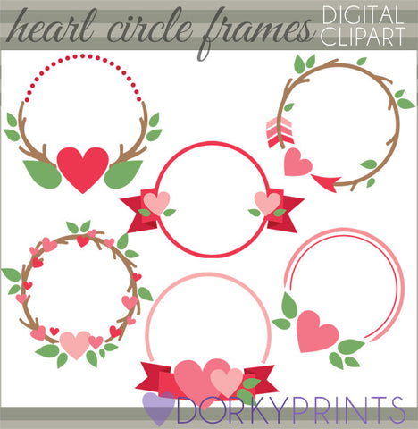 Heart Circle Frames Valentine Clipart