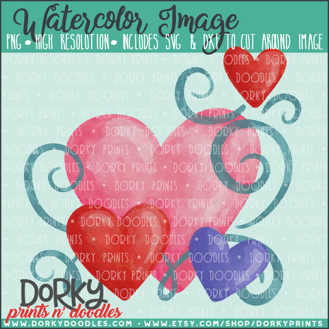 Hearts and Swirls Valentine's Day Watercolor PNG