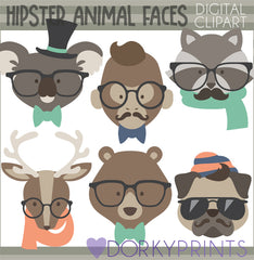 Hipster Animals Clipart