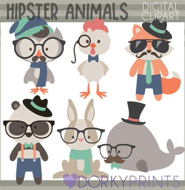 Hipster Animals Clipart – Dorky Doodles
