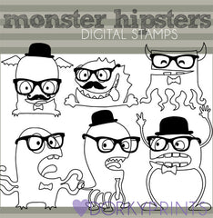 Hipster Monster Blackline Sci-fi Clipart