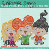 Three Witches Watercolor PNG