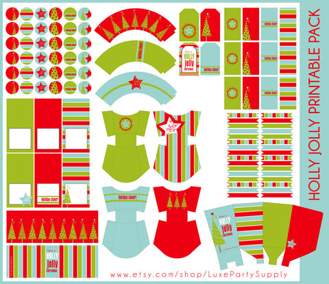 Holly Jolly Christmas Holiday Printables