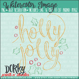 Holly Jolly Wordart Watercolor PNG