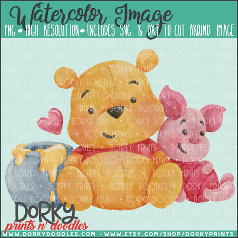 Honey Bear and Piglet Watercolor PNG