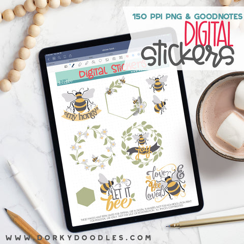 Honey Bees Digital Planner Stickers