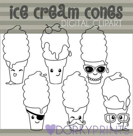 Ice Cream Cones Black Line Summer Clipart