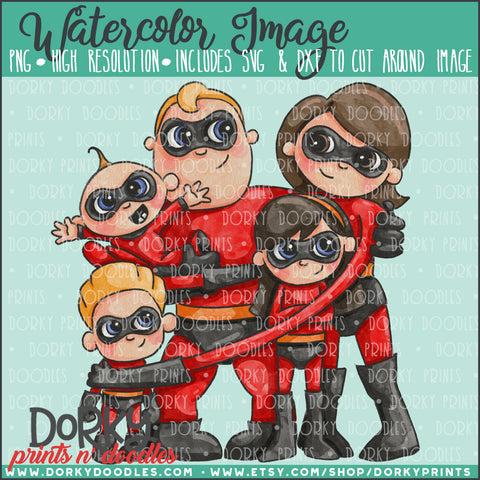 Superhero Family Watercolor PNG