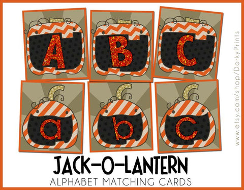 Jack-o-Latern Alphabet Cards Learning Printables