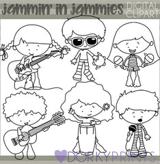 Blackline Jammin in PJs Kid Clipart