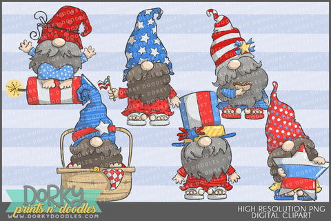 Patriotic Gnome Summer Clipart