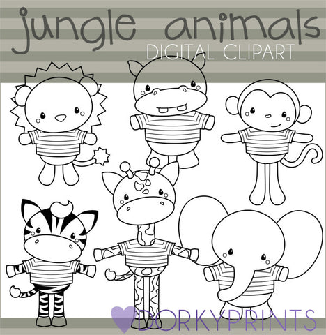 Black Line Jungle Animals Clipart