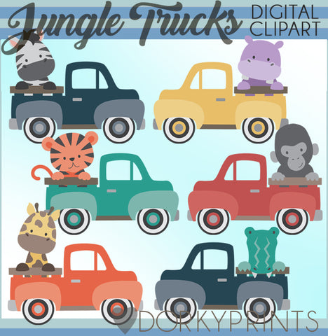 Vintage Trucks and Jungle Animals Clipart