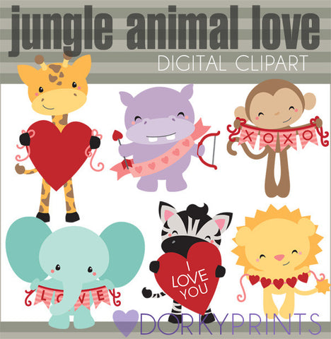 Jungle Animal Valentine Clipart