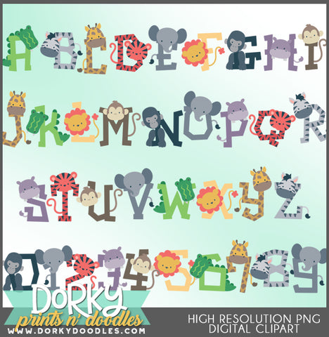 Jungle Animals Font and Symbols Clipart