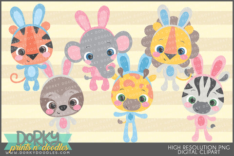 Easter Jungle Animals Spring Clipart