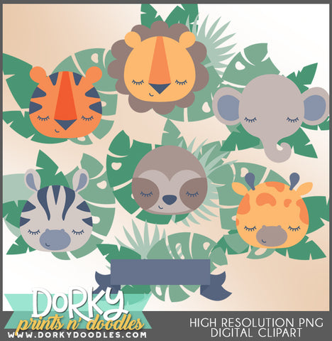 Baby Faces Jungle Animals Clipart