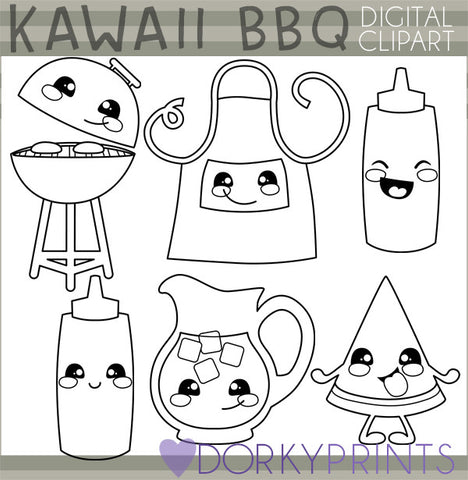 Blackline Kawaii BBQ Food Clipart