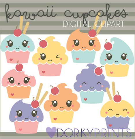 Kawaii Cupcakes Food Clipart