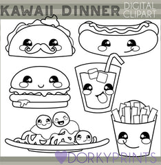 Blackline Kawaii Dinner Food Clipart