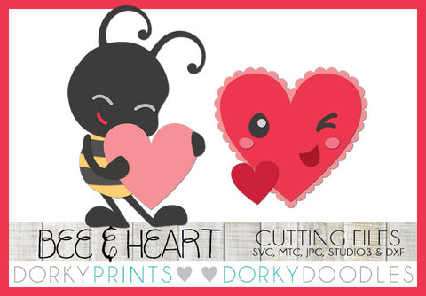 Kawaii Bee and Heart Valentine SVG Cuttable Files
