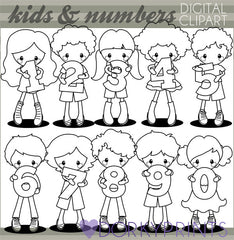 Blackline Number Kids School Clipart