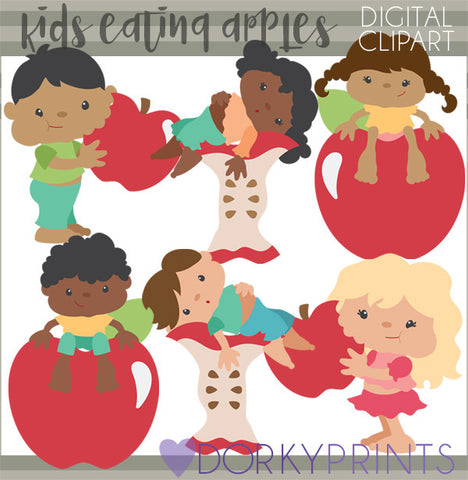 Apple Eating Kid Clipart