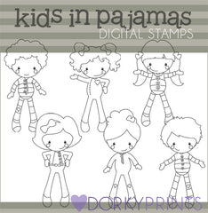 Pajamas Blackline Kid Clipart