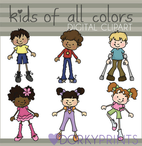 People of all Colors Kid Clipart