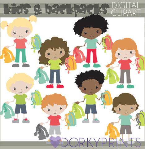 Backpack Kids School Clipart