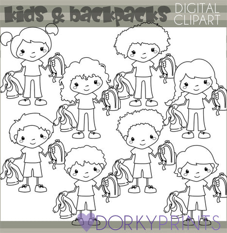 Blackline Backpack Kids School Clipart