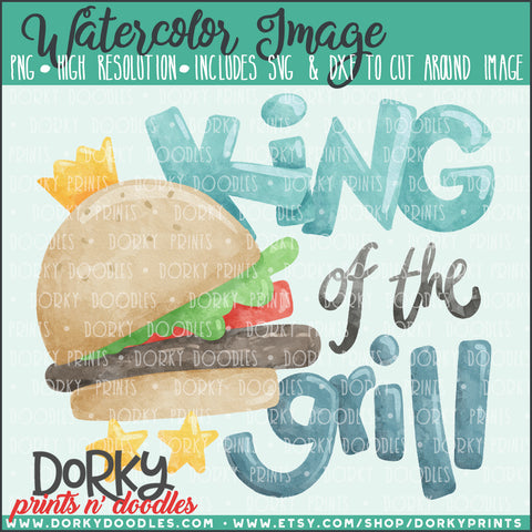 King of the Grill Watercolor PNG