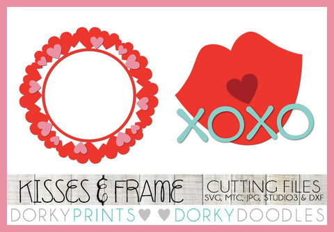 Kisses and Heart Frame Valentine SVG Cuttable Files