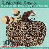 Leopard Print Pumpkin Watercolor PNG