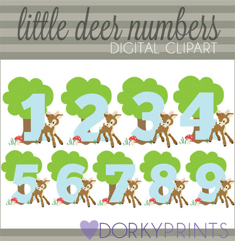 Boy Deer Numbers Symbols Clipart
