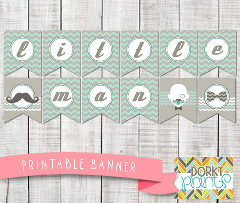 Little Man Banner Baby Shower Printables