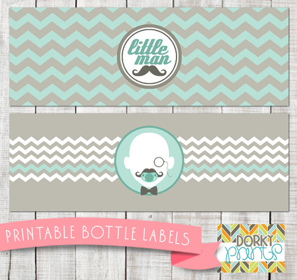 Little Man Water Bottle Labels Baby Shower Printables