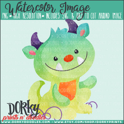 Little Green Monster Watercolor PNG