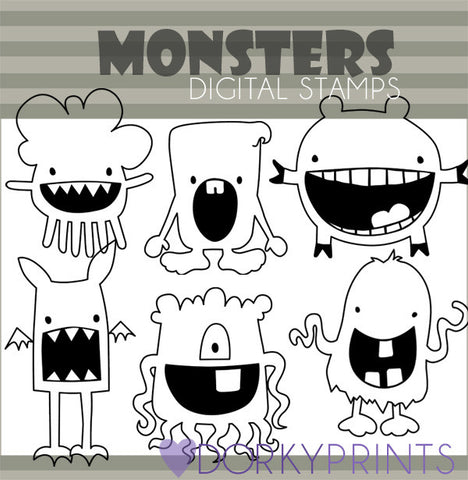 Monster Blackline Sci-fi Clipart